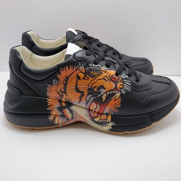 Black Leather Rhyton Tiger Sneakers